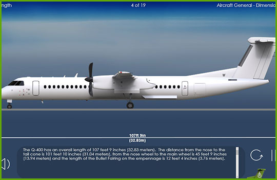 Q400 Initial and Recurrent Training Course program slide covering the physical dimensions of the aircraft