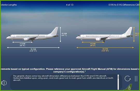 EMB 190 to EMB 195 differences training course slide showing the difference in dimensions between the two aircraft