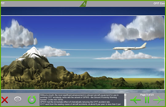 CFIT training course slide showing an airliner flying towards a mountain