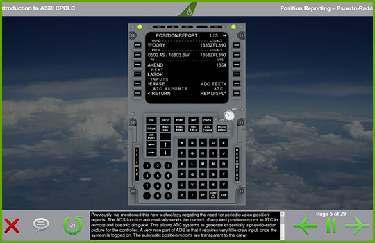 CPDLC Airbus 330 training course slide showing an example aircraft position report instrument