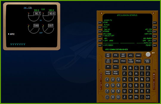 CPDLC - Boeing 737NG training course slide showing an example ATC communication instrument panel