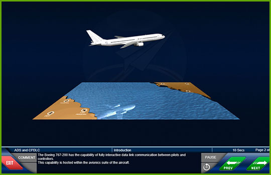 CPDLC training course slide showing an animation of a 767-200 aircraft flying over the ocean