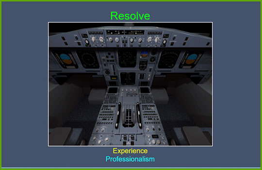 "CRM Crew Resource Management training course slide showing the cockpit of an aircraft with the words ""resolve, experience, professionalism"""