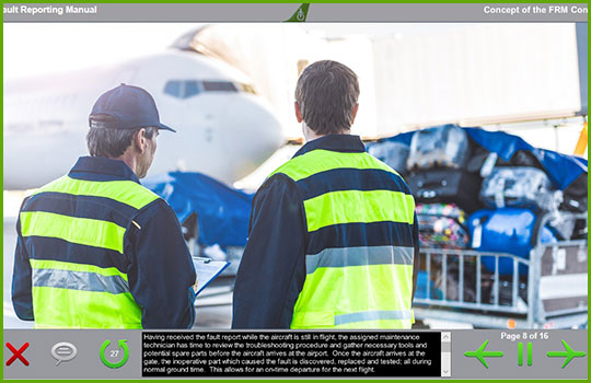 Boeing fault reporting manual training course introductory slide with two aircraft maintenance technicians looking at an aircraft