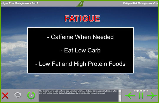 Fatigue risk management training course slide discussing dietary advice for combating fatigue