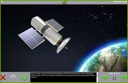 GPS training course introductory slide slide showing a satellite in Earth orbit