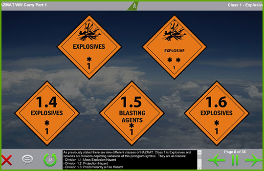 Hazmat will-carry training course slide discussing class 1 explosive cargo