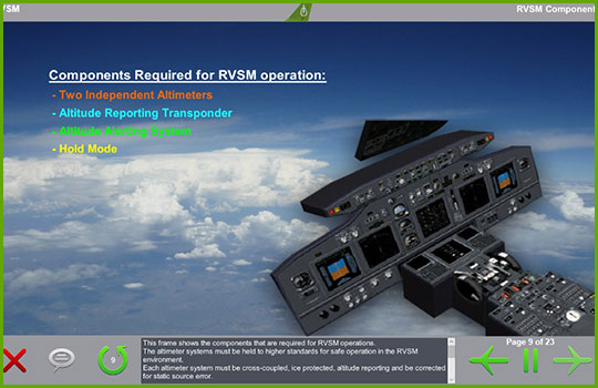 RVSM training program slide covering the components required for RVSM operation