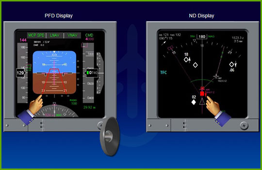 TCAS training program slide covering the types of TCAS cockpit displays