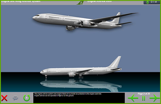 Boeing 777-200/300 training course introductory slide with an image the aircraft in flight and on the ground