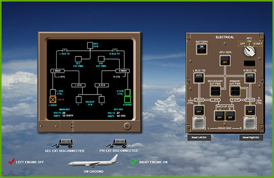 Boeing 777 interactive aircraft systems diagram screenshot showing the right side of the electrical control instrumentation