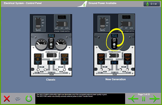 Boeing 737-Classic to Boeing 737 NG Differences Training -  Electrical System control panel