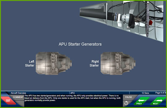 Boeing 777-200/300 to Boeing 787-9 differences training course slide showing the APU starter generators