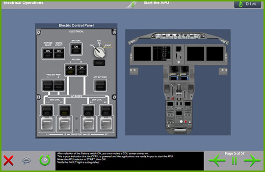 Boeing 787-8/9 initial and recurrent training course slide with a diagram of the cockpit electric control panel and APU