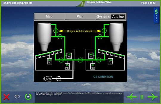 EMB 170 Initial and Recurrent Training Course slide showing a diagram of the engine anti-ice system on an EMB 170