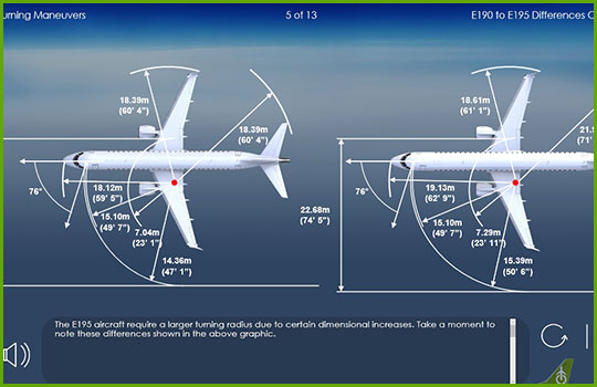 EMB 190 to EMB 195 differences training course slide showing the difference in turning radius between the two aircraft