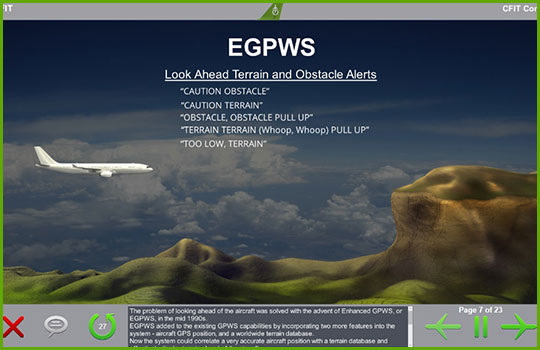 CFIT training course slide showing an airliner flying towards a mountain with a description of the Look Ahead Terrain and Obstacle Alerts system superimposed over the image
