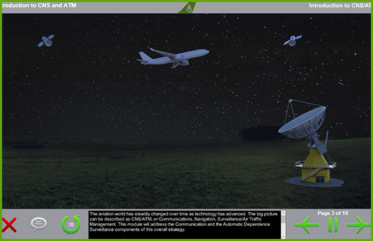CPDLC Airbus 330 training course introductory slide showing a Airbus 330 flying over a satellite dish at night