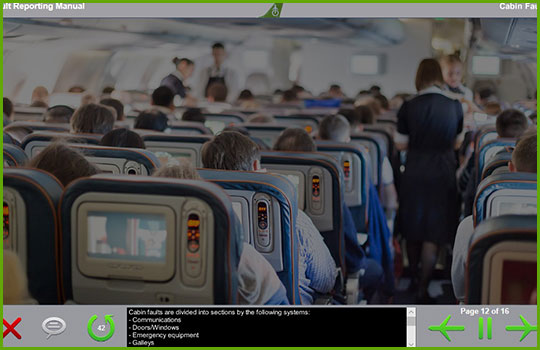 Boeing fault reporting manual training course slide discussing cabin faults with a picture of main cabin seating on a passenger aircraft