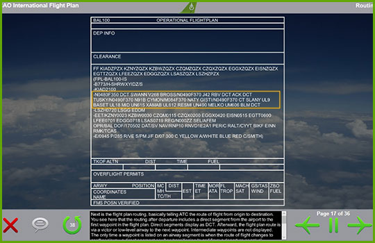 ICAO Flight Plan training slide with an example of an operational flight plan