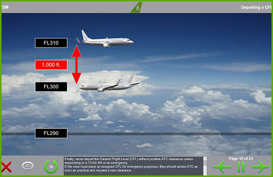 RVSM training program slide covering how to handle departures from a Cleared Flight Level
