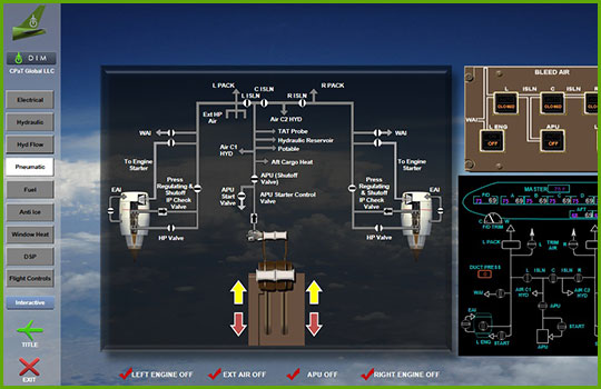 Boeing 777 interactive aircraft systems diagram screenshot showing a schematic of the pneumatic control system