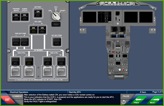 Boeing 777-200/300 to Boeing 787-9 differences training course slide showing the APU cockpit instrumentation