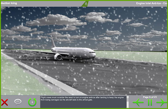 Cold weather operations training course slide showing an airliner on the runway amid heavy snowfall