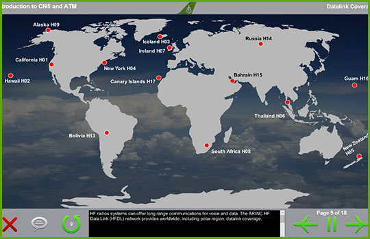 CPDLC Airbus 330 training course introductory slide showing a map of the Earth with the location of HF Data Link providers across the world highlighted