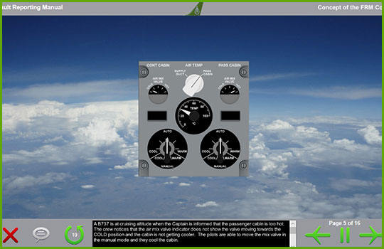 Boeing fault reporting manual training course slide discussing an example fault reporting scenario with a picture of an aircraft climate control instrument panel