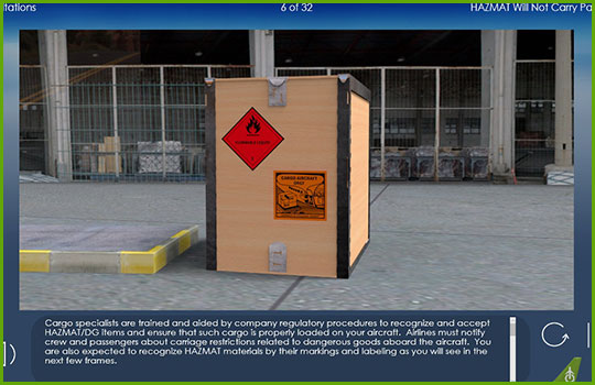 Hazmat and will-not-carry training course slide discussing cargo handling of hazardous materials