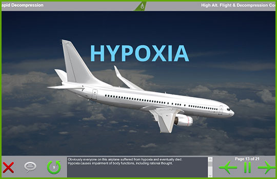 High altitude flight and rapid decompression training slide discussing hypoxia