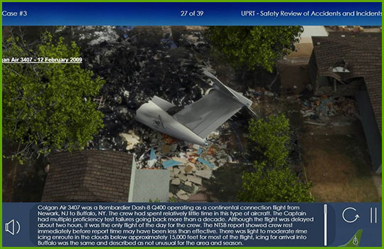 Upset prevention and recovery training program slide showing the aftermath of an aircraft crash
