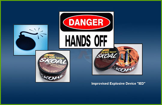 Weapons training program slide showing examples of improvised explosive devices