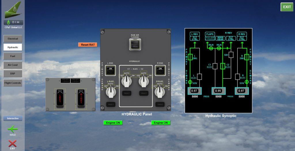 Boeing 787 Interactive Aircraft System diagram screenshot showing diagrams and examples of various instruments and systems related to 787 aircraft hydraulics