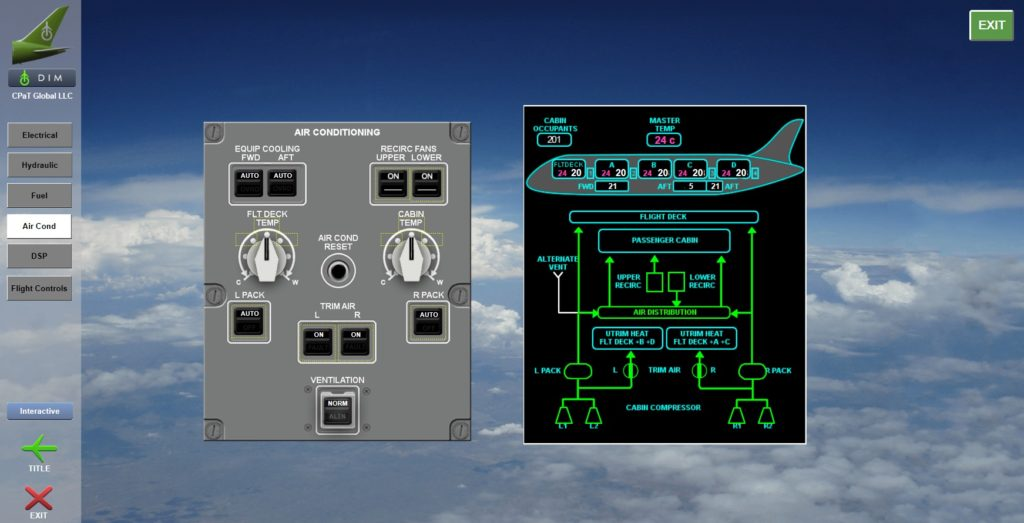 Boeing 787 Interactive Aircraft System diagram screenshot showing diagrams and examples of various instruments and systems related to 787 aircraft air conditioning