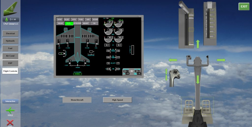 Boeing 787 Interactive Aircraft System diagram screenshot showing diagrams and examples of various flight controls and their effect on the aircraft