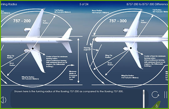 Boeing 757-200 to Boeing 757-300 turning radius diagram