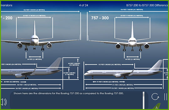 Boeing 757-200 to Boeing 757-300 dimensions